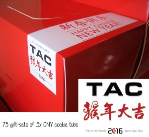 75 Corporate Gift-sets of 3 CNY cookie tubs