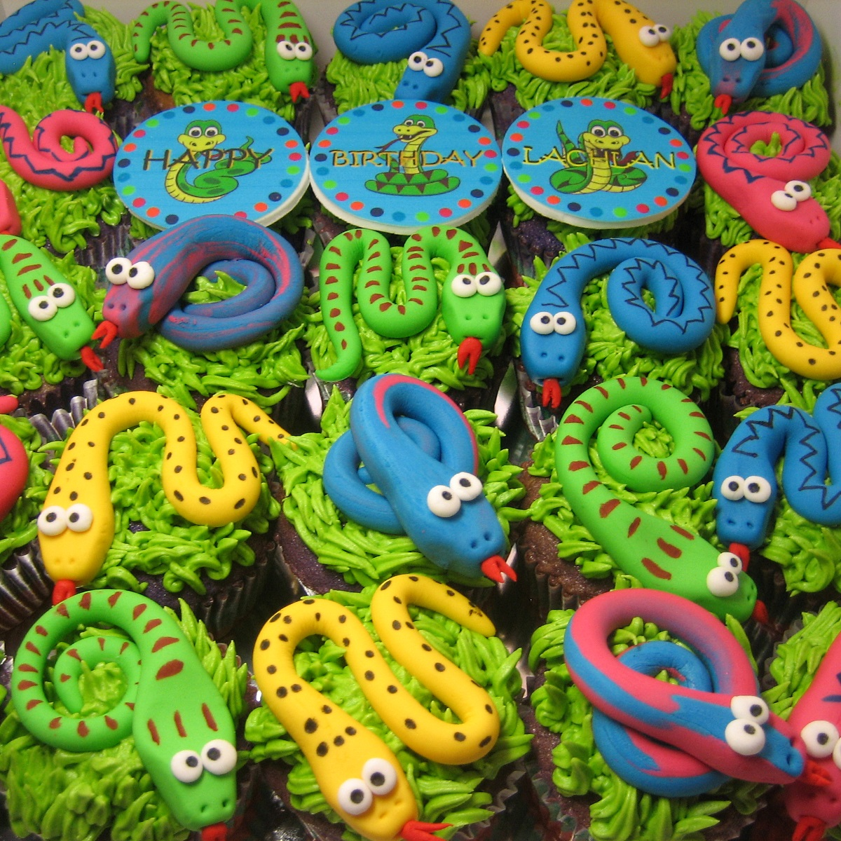 color-snake-birthday-cupcakes