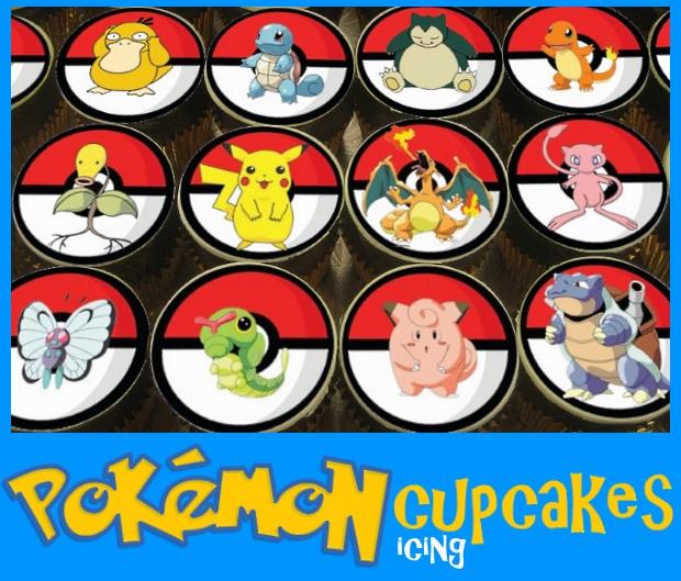 Pokemon icing image cupcakes