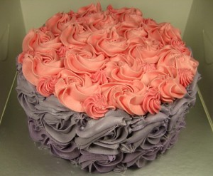 Rose Swirl Cake in Lavender and Pink