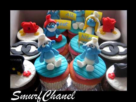 smurf-chanel-birthday-cupcakes
