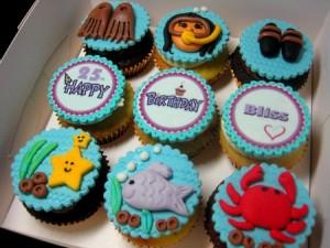sea-creatures-birthday cupcakes