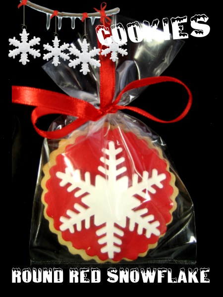 Christmas Cookie Round Red Snowflake