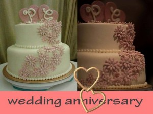 wedding anniversary-themed cake