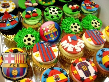 FC- Barcelona-themed-birthday- cupcakes