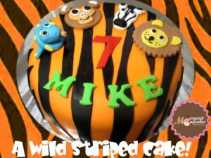 Zebra-striped-Happy-birthday-themed-cake