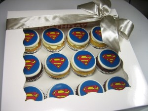Superman logo cupcakes