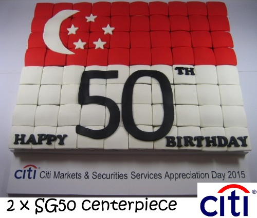 CITIBANK- 2 sets of 80 Tiled cupcakes SG50 APPRECIATION DAY-CENTER-PIECE-CUPCAKES