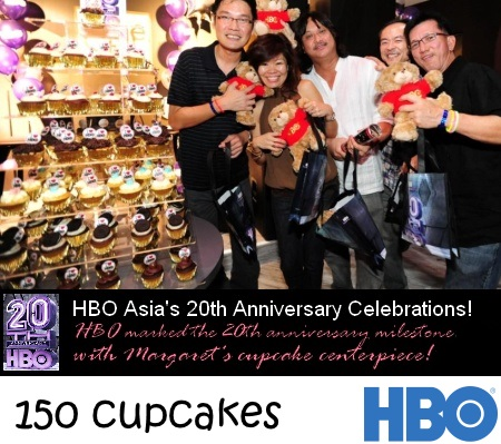 HBO 150 Corporate Anniversary cupcakes with toppers
