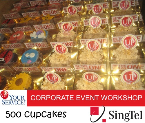 SINGTEL 500 boxed cupcakes for UP! Your Service workshop